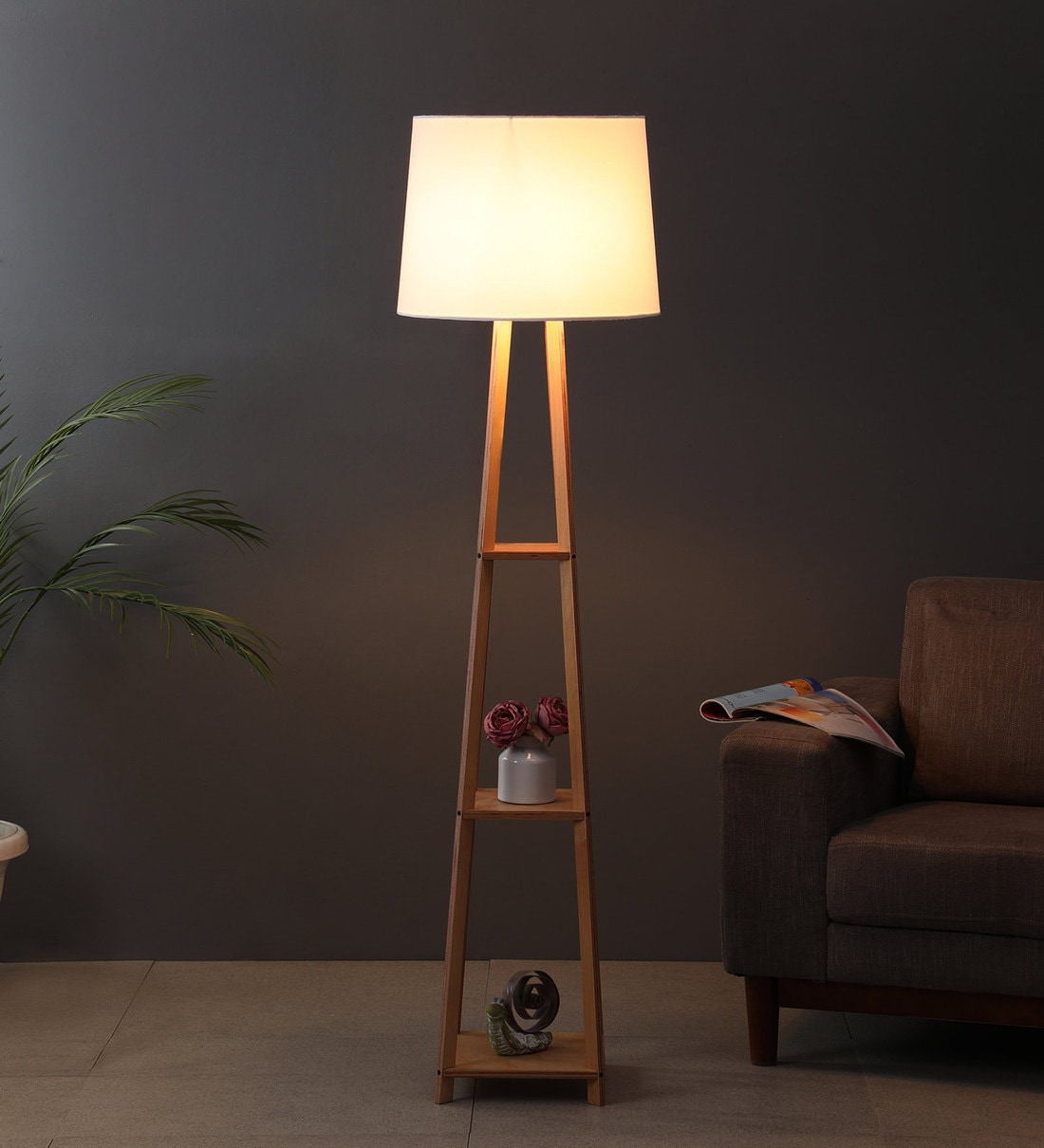 Buy White Fabric Shade Floor Lamp With Brown Base By Casacraft Online Modern And Contemporary Floor Lamps Floor Lamps Lamps Lighting Pepperfry Product
