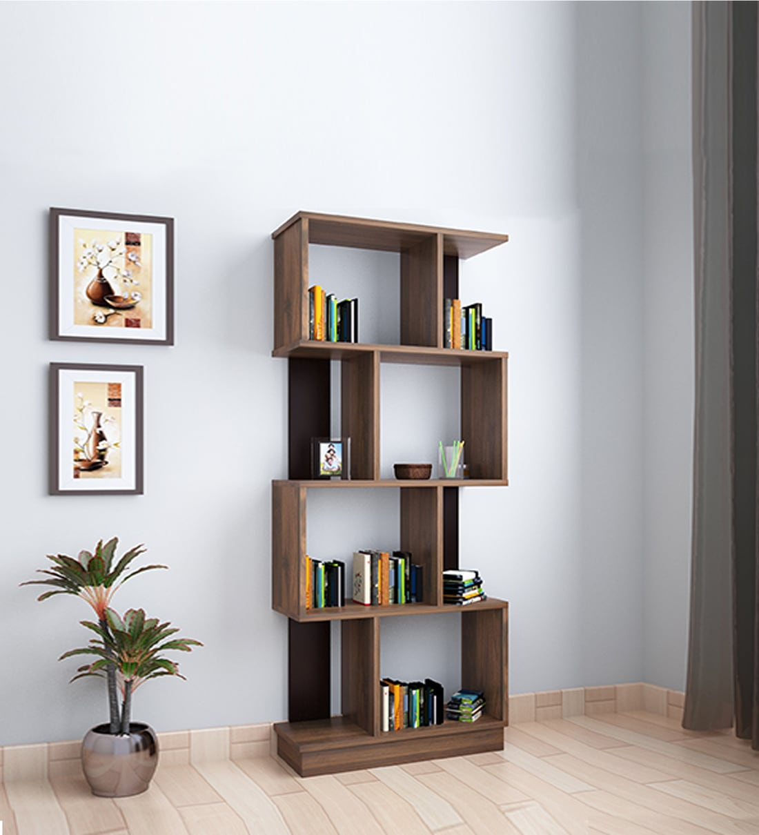 Buy Checkers Four Tier Bookshelf in Walnut Colour by @home ...