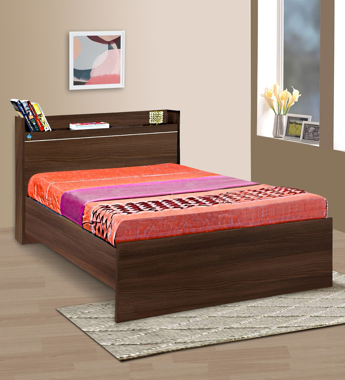 Buy Cherry Single Bed With Open Headboard Shelf Storage In Acacia Dark Finish By Delite Kom Online Modern Single Beds Beds Furniture Pepperfry Product