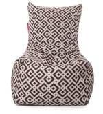 Chair Cotton Canvas Geometric Design Bean Bag XXL Size with Beans
