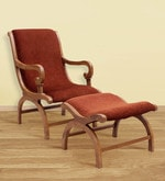 Charlotte Teak Wood Arm Chair with Leg Rest in Natural Teak Finish