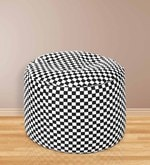 Checkered Round Shaped Large Pouffe in Multicolour