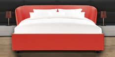 Chiselled Queen Size Bed in Red Leatherette Bed