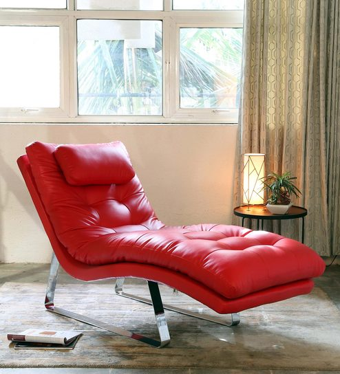Chaise Lounge Chair.Buy Chaise Lounge Chair In Red Colour By Furnitech Online