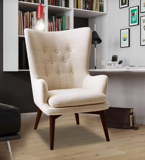 Charming Wing Back Chair in Beige Colour by Dreamzz Furniture