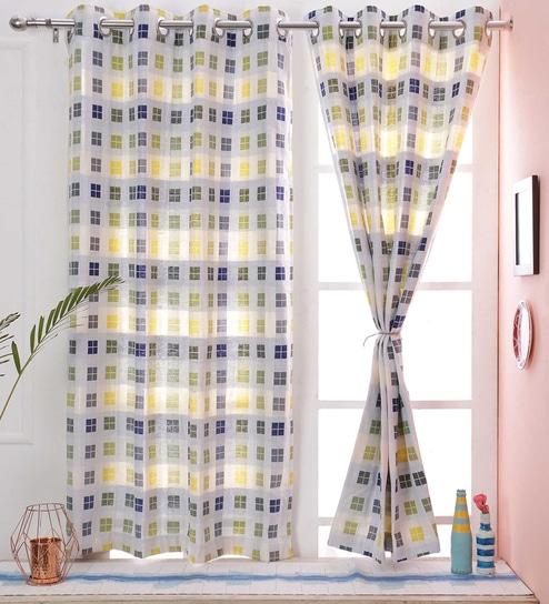 Check Pattern Multi Color Cotton Curtain Window 45 5