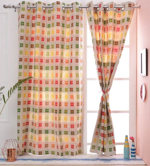 Check Pattern Multi Color Cotton 5 X38 Feet Window Curtain By Soumya