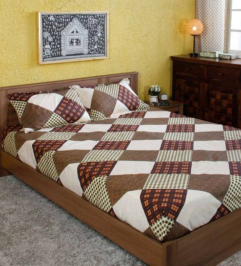 Checkered Pattern 160 TC Cotton King Size Bedsheet With 2 Pillow Covers By  Ahmedabad Cotton