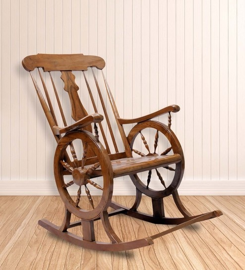 Chelmsford Teak Wood Rocking Chair In Composite Teak Finish By Finesse