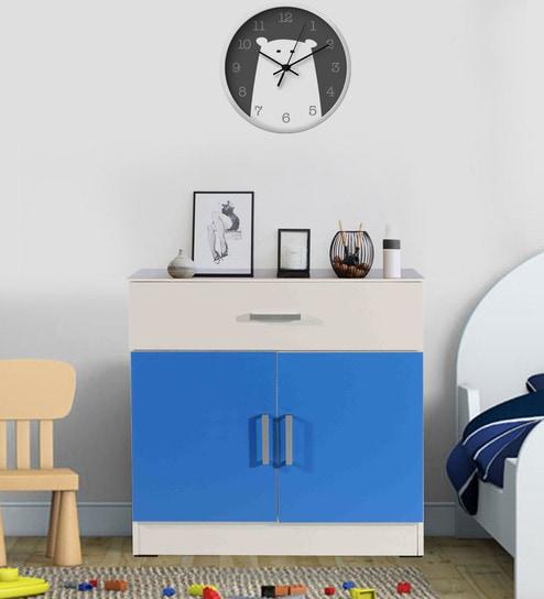 Aqua Splash Storage Cabinet With Drawer In White Blue Finish By Kids Fun Furniture Online Cabinets