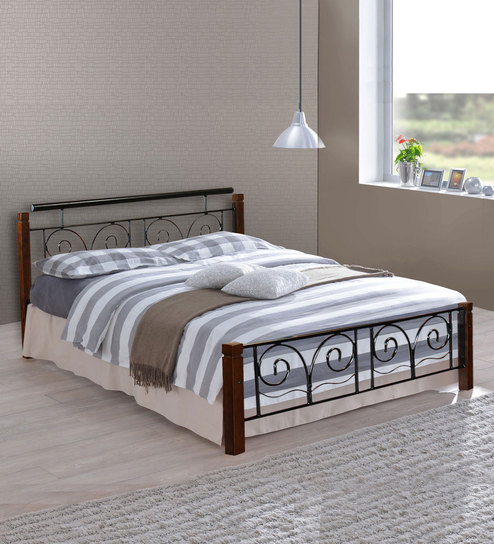 Buy Chicago Metallic Queen Size Bed With Wooden Posts By Beauteous Bedroom Furniture Chicago