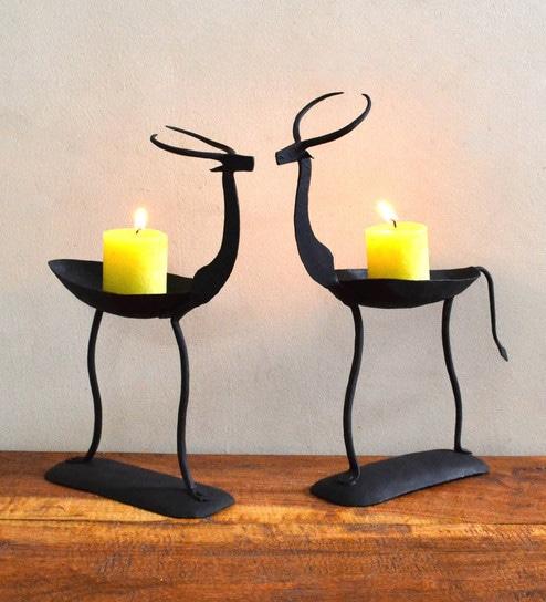 81a711a014e Buy Black Wrought Iron Deer Pair Tea Light Holder by Chinhhari Arts ...