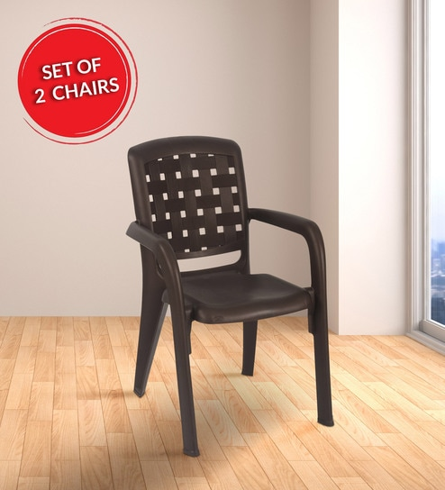 Brilliant Plastic Chair In Weather Brown Colour Set Of 2 By Nilkamal Cjindustries Chair Design For Home Cjindustriesco