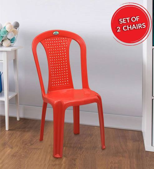 Phenomenal Plastic Chair In Bright Red Colour Set Of 2 By Nilkamal Download Free Architecture Designs Scobabritishbridgeorg