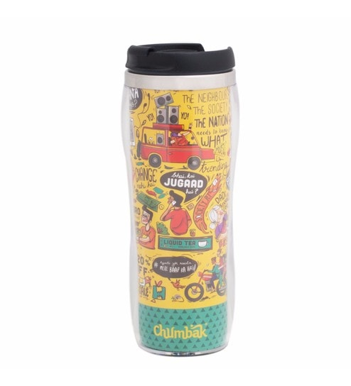 Chumbak Made in India Stainless Steel & Bpa Free Plastic 380 ML Sipper  Water Bottle