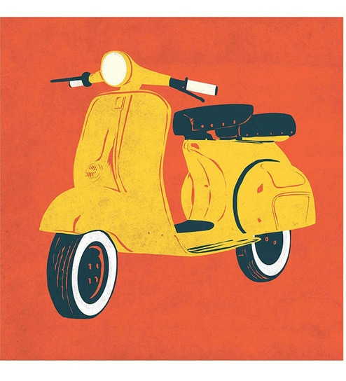 Buy Chumbak Red Scooter 20x20 INCH Art Print Online - Art Posters