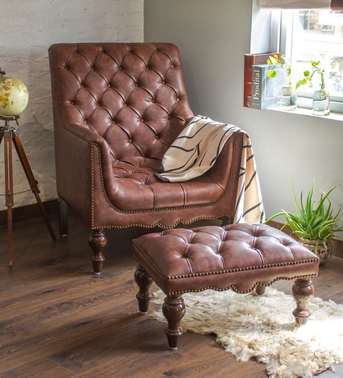 Churchill Reading Arm Chair With Footstool In Vintage Brown Leather By Studio Ochre