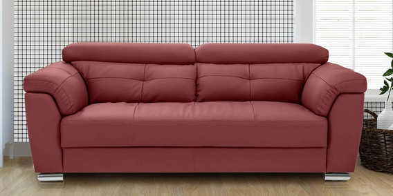 Buy Charles Three Seater Sofa In Red Colour By Durian