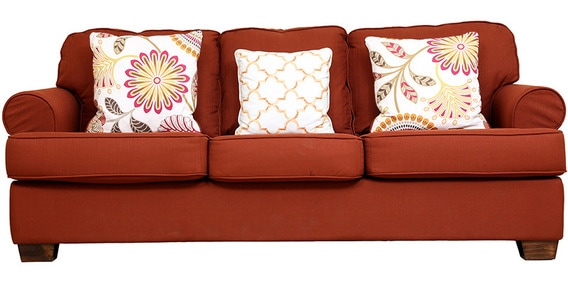 Merveilleux Charlotte Fabric Three Seater Sofa In Rust Colour By HomeTown