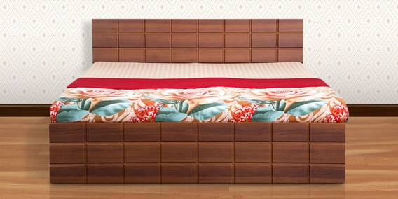 57aaf59a6 Checkers Queen Bed with Box Storage in Walnut   Dark Acacia Matt Finish by  Debono