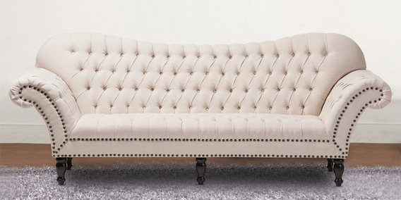 Chic Style Three Seater Chesterfield Sofa in Beige Colour by Dreamzz  Furniture