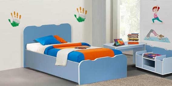 Kids Bed In Sky Blue Colour By Heveapac