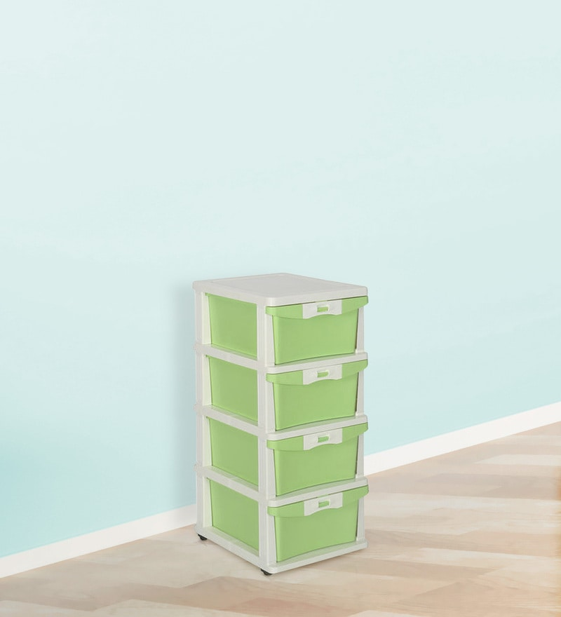 Chester Series 24 Four Drawer Cabinet in Cream & Pastel Green Color by Nilkamal