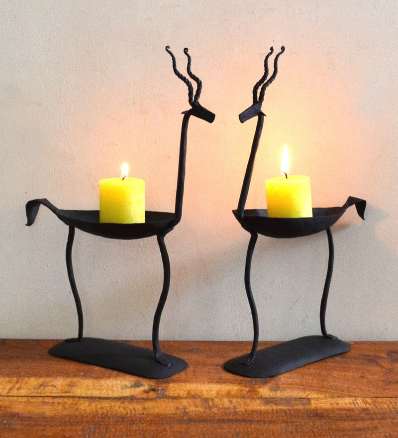 Black Wrought Iron Antelope Pair Tea Light Holder by Chinhhari Arts