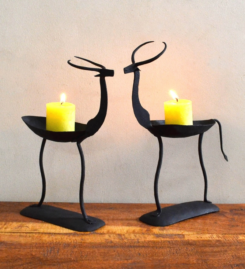 Chinhhari Arts Black Wrought Iron Deer Pair Tea Light Holder