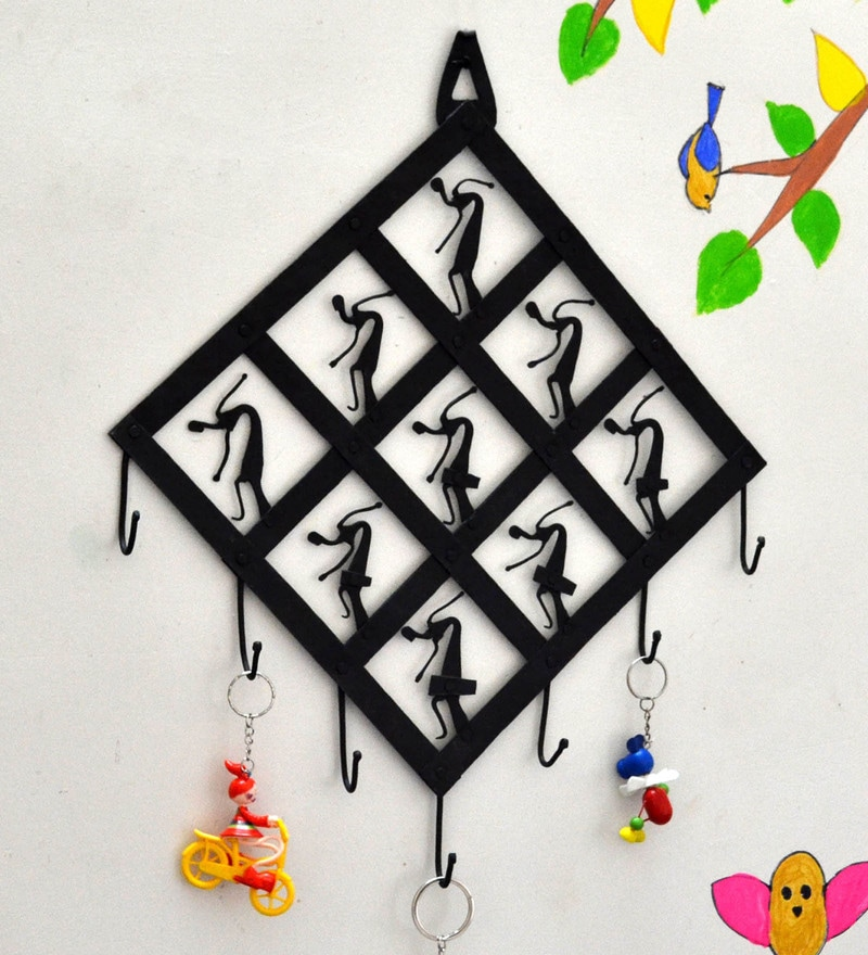 Black Wrought Iron Diamond Shape 7 Hook Key Chain Holder by Chinhhari Arts