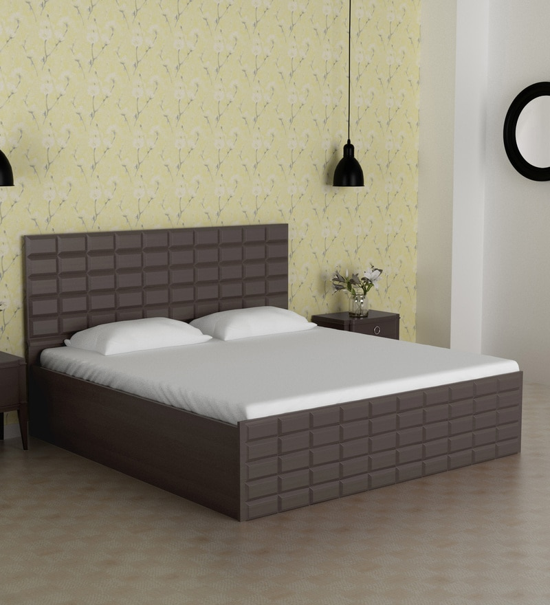 Buy Chocolate King Size Bed With Storage In Cola Rain Finish By