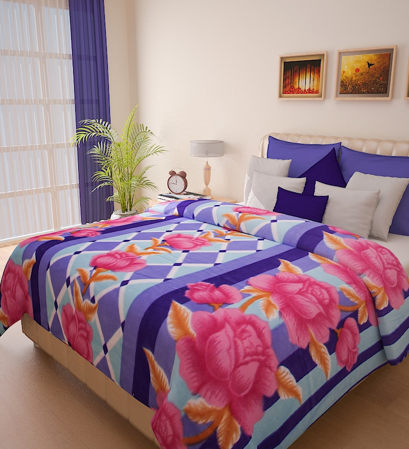 Christine Purple Double Bed Blanket by Bombay Dyeing