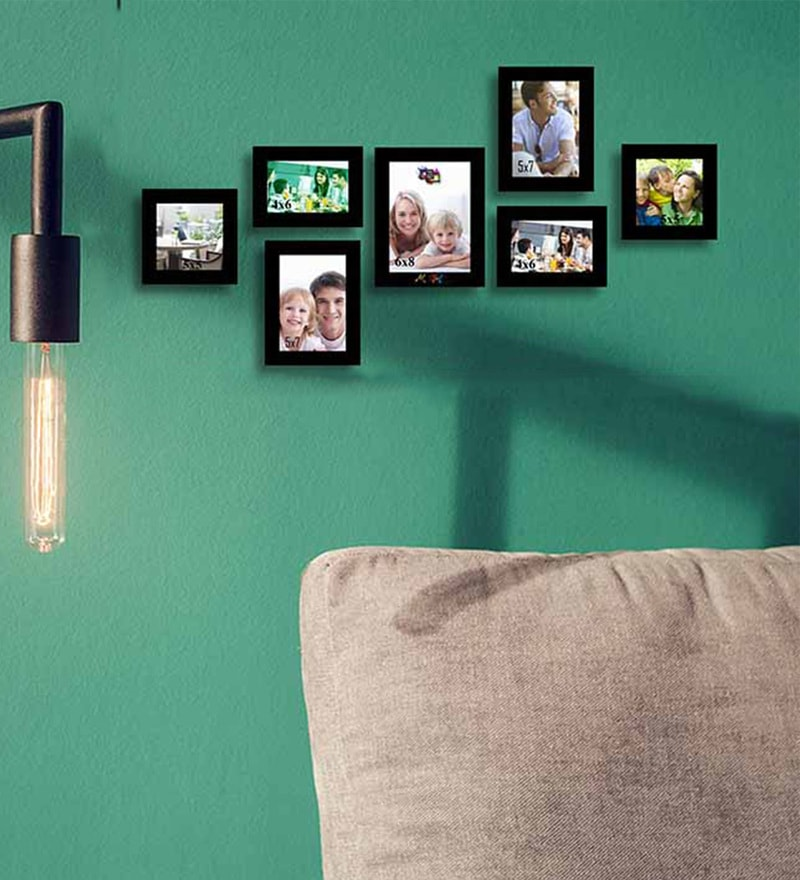 Black Wood & Glass 7-piece Photo Frame Set by Art Street