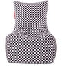 Chair Cotton Canvas Checkered Printed Bean Bag XXL Size with Beans by Style Homez