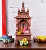 Shrinath Brown MDF & Mango Wood Rajputana Table Top & Wall Temple