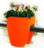 Chhajed Garden Balcony Railing Orange Plastic Planter