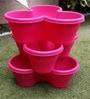 Chhajed Garden Pink Plastic Stacking Flower Pot - Set of 3