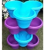 Chhajed Garden Blue and Purple Plastic Stacking Flower Pot - Set of 4