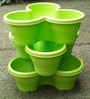 Chhajed Garden Green Plastic Stacking Flower Pot - Set of 3