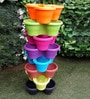 Chhajed Garden Multicolor Plastic Stacking Flower Pot - Set of 6