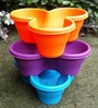 Chhajed Garden Multicolor Plastic Stacking Flower Pot - Set of 3