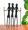 Chinhhari Arts Black Wrought Iron Relo Showpiece - Set of 3