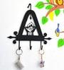 Chinhhari Arts Black Wrought Iron Triangle 3-Hook Durable Key Chain Holder