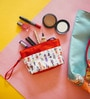 Chumbak Polyester Orange & White Cosmetic Party Bag