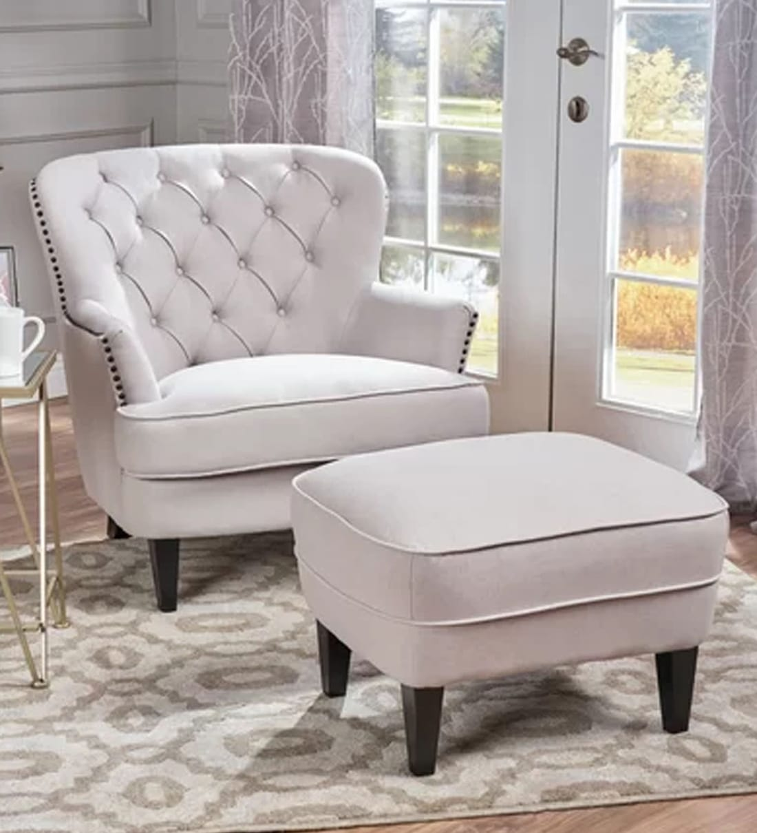 Picture of: Buy Circle Wing Chair Ottoman In Light Grey Colour By Lakdi Online Solid Color Wing Chairs Chairs Furniture Pepperfry Product