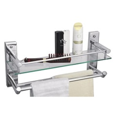 Cipla Plast  Clear Glass Bathroom Glass Shelf With Double Towel Rods