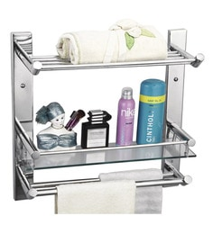 Cipla Plast  Clear Glass Bathroom Glass Shelf With Towel Rack & Double Rods