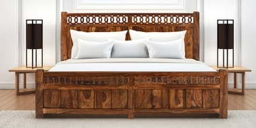 Citrine Queen Size Bed With Box Storage In Honey Walnut Finish
