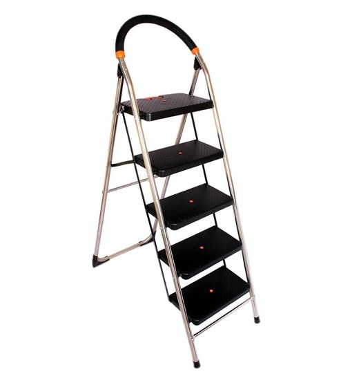 Super Ciplaplast Folding Stainless Steel Ladder With Chrome Finish Milanoss 5 Steps Machost Co Dining Chair Design Ideas Machostcouk
