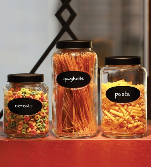 Circleware Cylindrical Canister with Chalkboard-Set of 3
